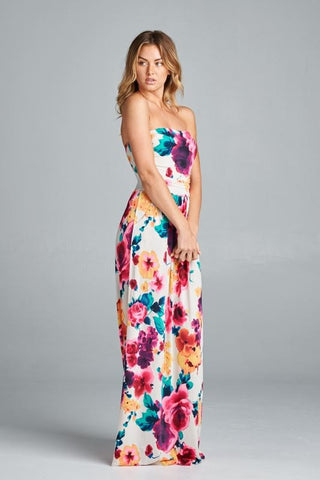 Bold Floral Strapless Maxi Dress - Multicolor