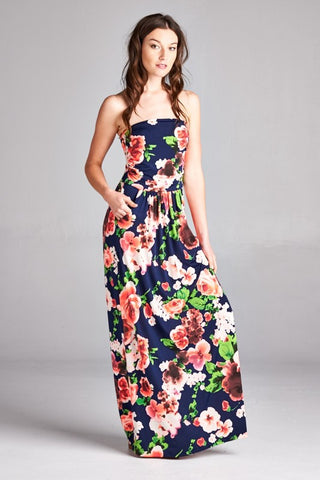 Bold Floral Strapless Maxi Dress in Navy