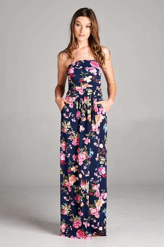 Strapless Maxi Dress in Navy and Pink - ROUTE 32