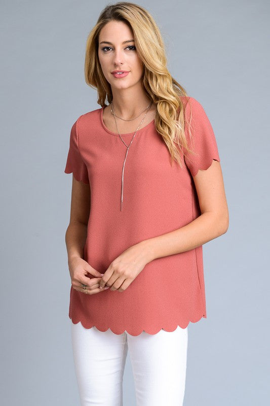 Scallop Hem Top in Dusty Rose