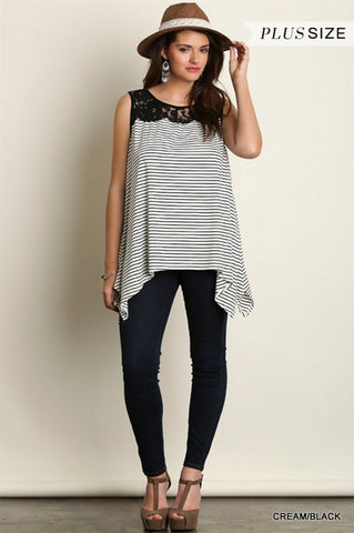 Stripe and Lace Tank
