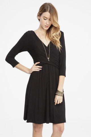 Knit Wrap Dress in Black - ROUTE 32