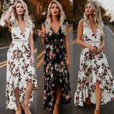 Cameron Backless Floral Maxi Dress (Black or White) - ROUTE 32