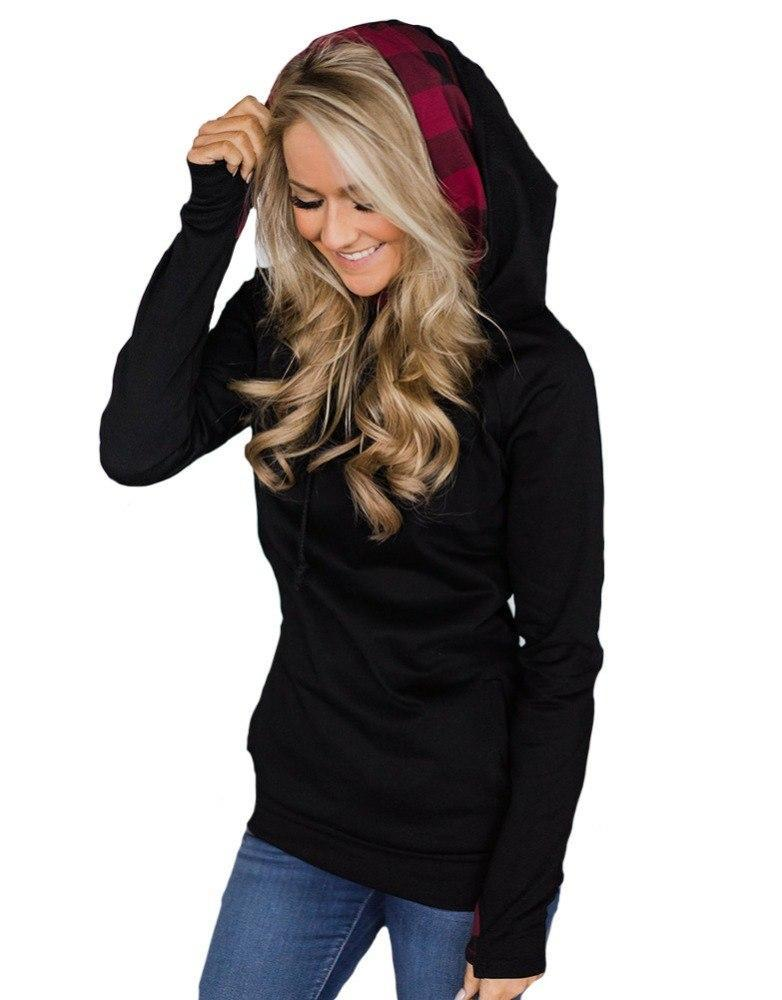 Contrast Zipper Hoodie in Black - ROUTE 32