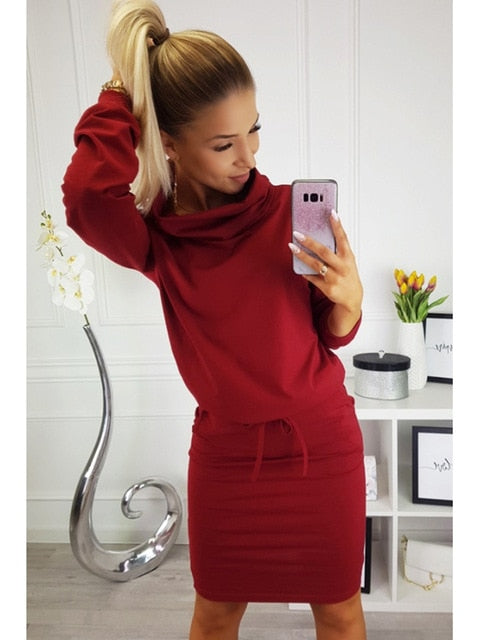 Kyle Sweater Dress in Burgundy - ROUTE 32