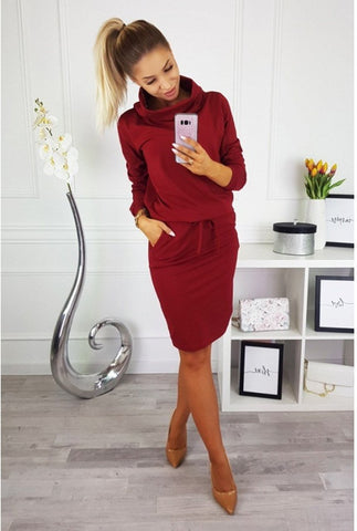 Kyle Sweater Dress in Burgundy