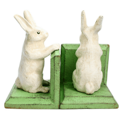 Cast Iron Rabbit Bookends