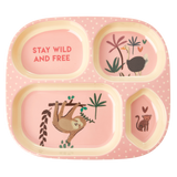 Melamine Kids 4 Room Plate with Pink Jungle Animals Print