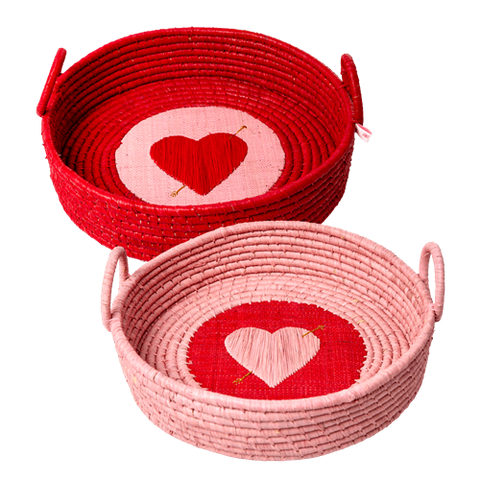 Raffia Baskets in 2 Assorted Colours With Embroidered Hearts