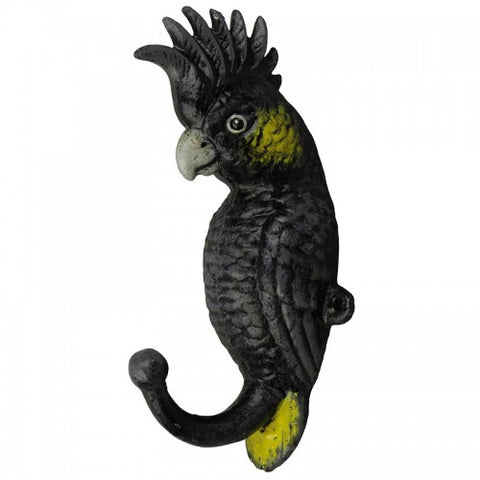 Yellow Tail Black Cockatoo Cast Iron Hook