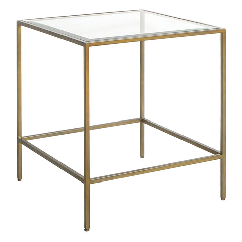 Victor Square Side Table in Brass Finish