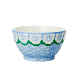 Ceramic Bowl with Embossed Blue Flower Design