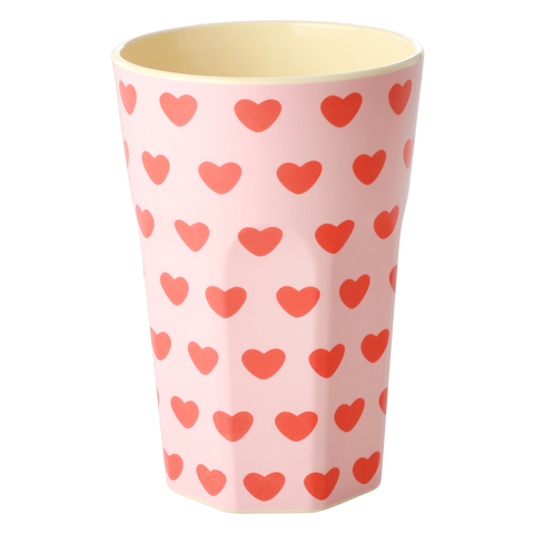 Melamine Cup with Sweet Hearts Print - Two Tone - Tall