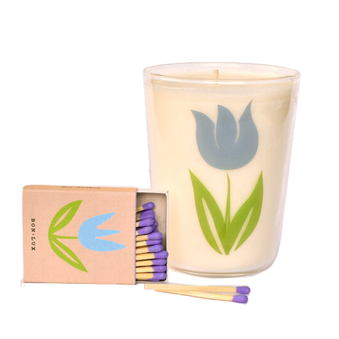 Blue Tulip Candle + matchbox gift set