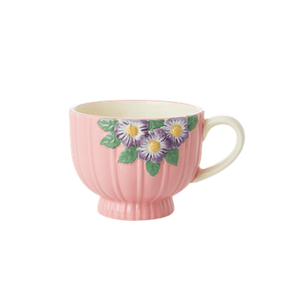 Ceramic Mug with Embossed Pink Flower Design