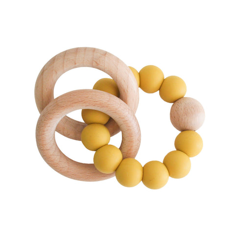 Alimrose Beechwood Teether Ring Set - Butterscotch