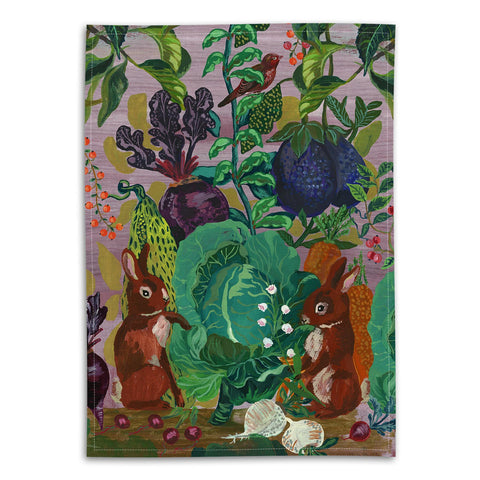 Nathalie Lete The Rabbits In The Cabbage Patch Tea Towel