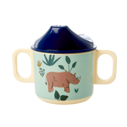 Melamine 2 Handle Baby Cup with Blue Jungle Animals Print
