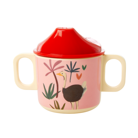 Melamine 2 Handle Baby Cup with Pink Jungle Animals Print