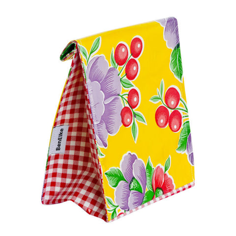 Oilcloth Lunchbag in Yellow Poppy