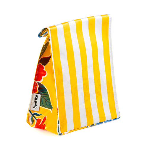 Oilcloth Lunchbag in Yellow Stripes
