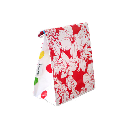 Oilcloth Lunchbag in Wild Flower Red