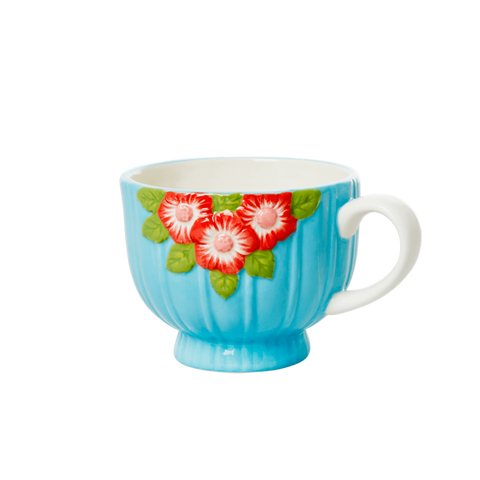 Ceramic Mug with Embossed Mint Flower Design