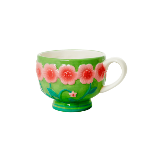 Ceramic Mug with Embossed Green Flower Design