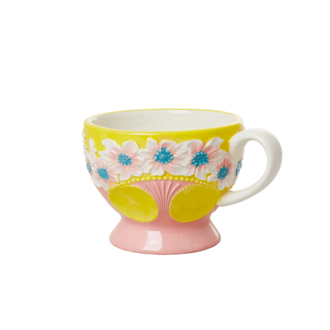 Ceramic Mug with Embossed Yellow Flower Design