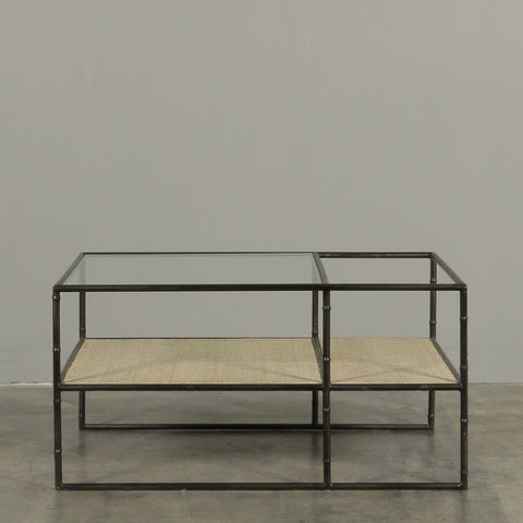 Enzo Coffee Table Rattan with Glass Top