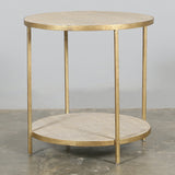 Alma Round Side Table with Rattan
