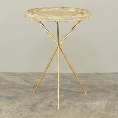 Trieste Round Side Table Washed Timber