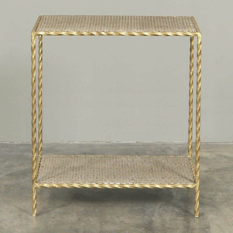 Toulouse Side Table Gold Twist and Rattan