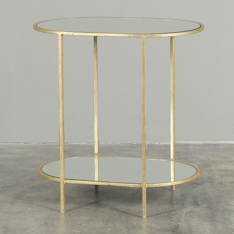 Trieste Mirrored Oval Side Table