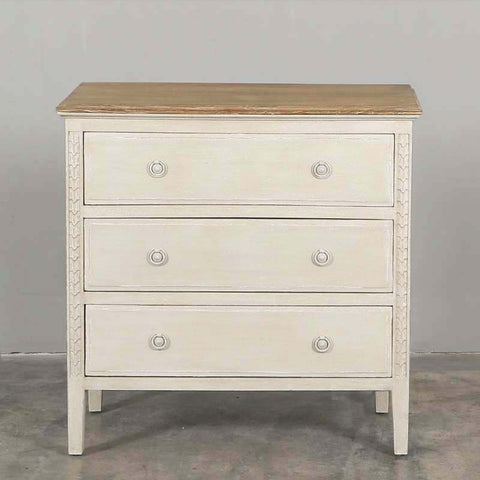 Lucie Chest of Three Drawers in Ash/Vintage Cream