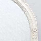 White Arch Mirror with Carving
