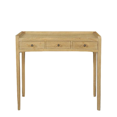 Charles Three Drawer Desk Natural with Light Rattan