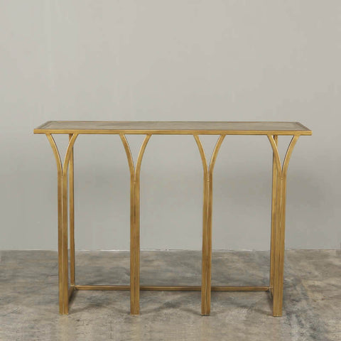 Steeple Console Table Brass with Wooden Top