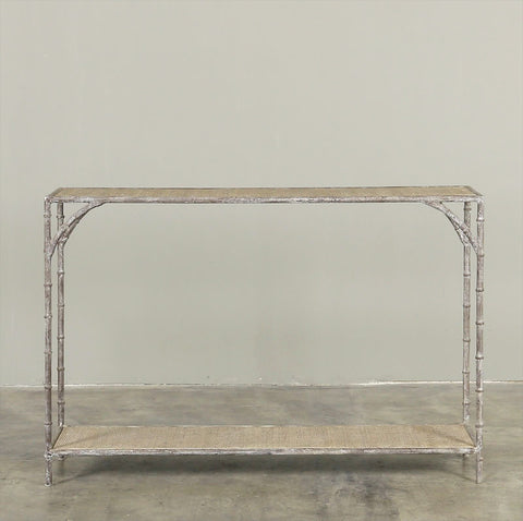 Enzo Console Washed Acier and Dark Rattan