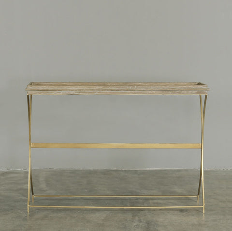 Alma Console in Brass with Washed Timber and Light Rattan
