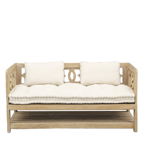 Adele Sofa with Buttoned Seat Cushion Ecru