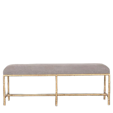 Toulouse Upholstered Brass Bench Grey Stone Wash