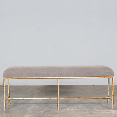 Toulouse Upholstered Gold Bench