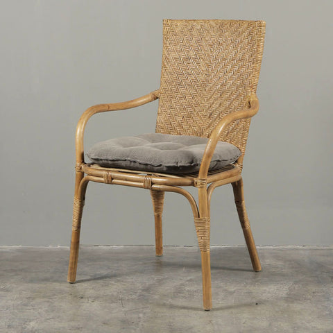 Riviera Cane Carver Chair Charcoal Cushion