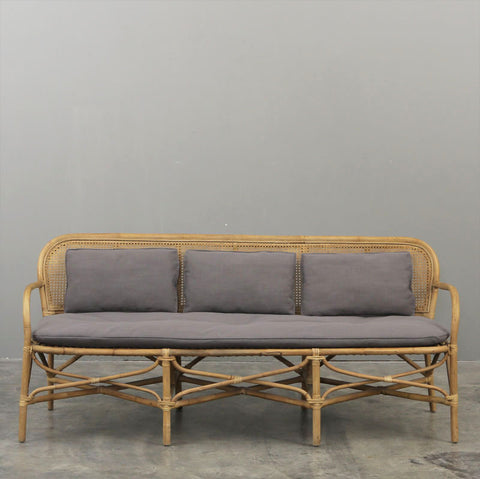 Riviera Rattan Cane Sofa Grey Upholstery