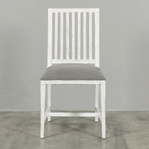 Laverne Dining Chair Antique White Grey Upholstery