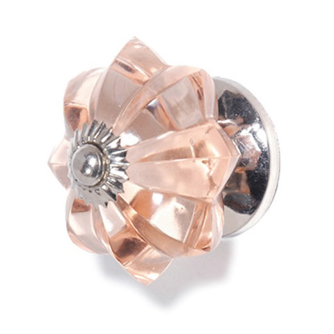 Star Faceted Glass Knob Pink + Gold