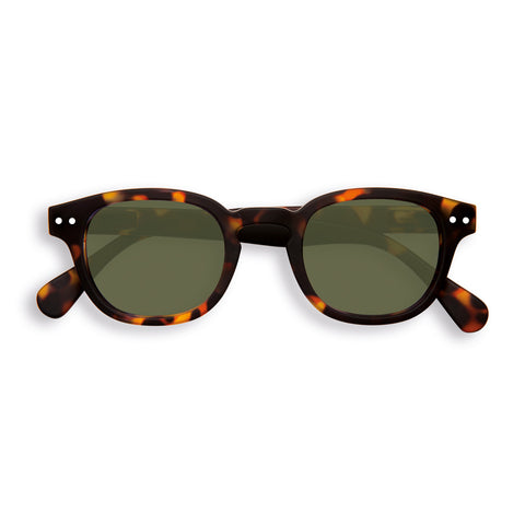 Izipizi Sun Glasses #C Tortoise with Green Lenses