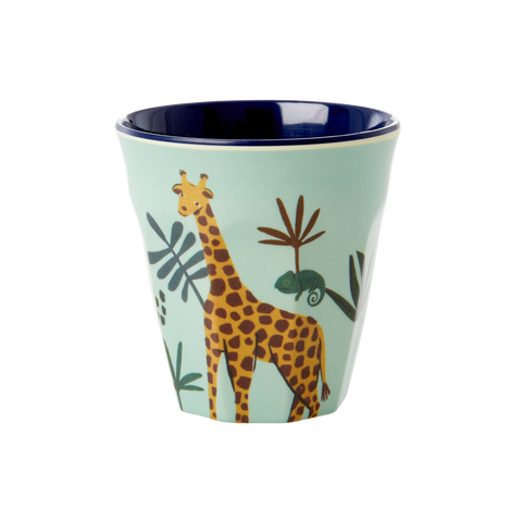 Melamine Kids Cup with Blue Jungle Animal Print - Small