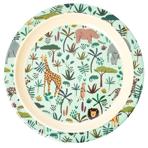 Melamine Kids Lunch Plate with All Over Jungle Animals Print - Green